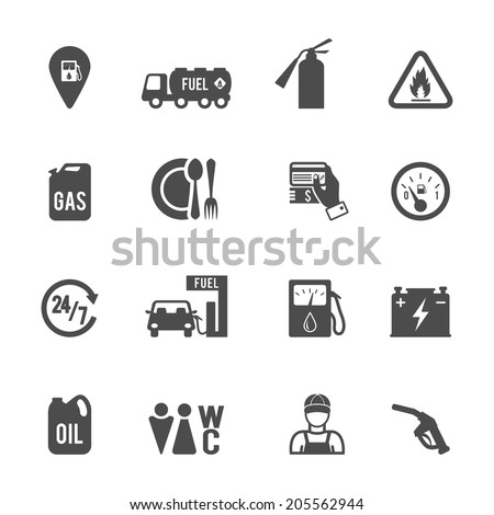 Gasoline diesel fuel pump service station convenience food store and WC icons set abstract isolated vector illustration - stock vector