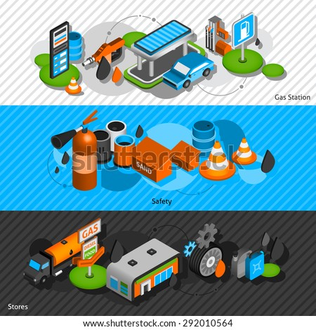 Gasoline diesel fuel station isometric banners set with convenience shop and safety equipment abstract isolated vector illustration - stock vector