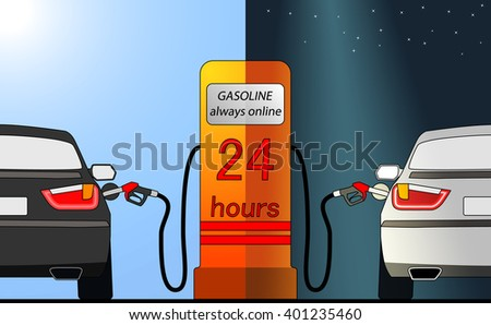Gasoline fueling station. 24 hours, day, night, auto, refueling nozzle. Vector image. - stock vector