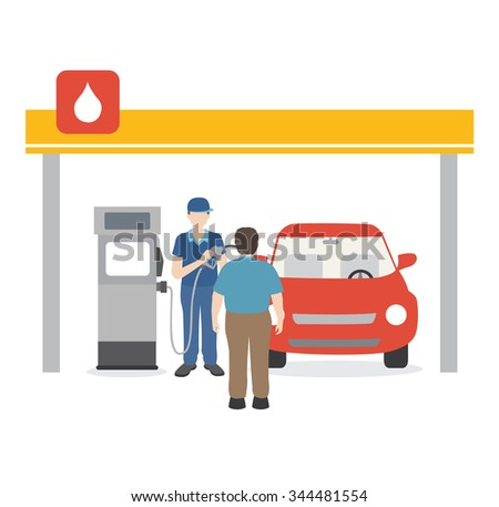 gasoline man filling up fuel into the car - stock vector