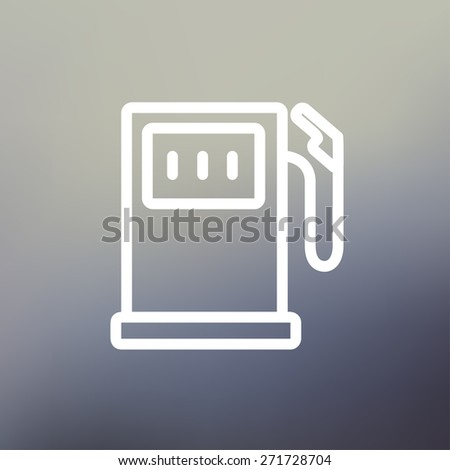 Gasoline pump icon thin line for web and mobile, modern minimalistic flat design. Vector white icon on gradient mesh background. - stock vector