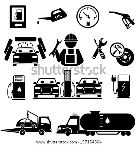 Gasoline station icons  and repair auto