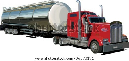 gasoline tank truck isolated on white background, vector illustration - stock vector