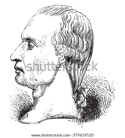 Gaspard Monge, On after a medal, vintage engraved illustration. Magasin Pittoresque 1878.