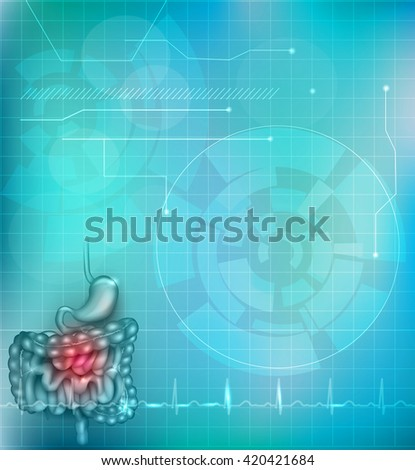 Gastrointestinal tract light blue background. Stomach, small intestine and colon. Beautiful bright illustration.