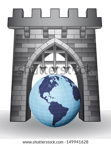 gate pass to world to visit america vector illustration