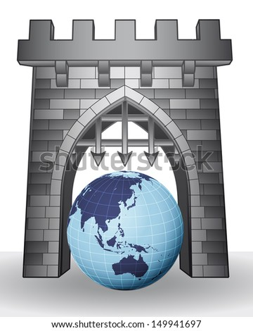 gate pass to world to visit asia vector illustration