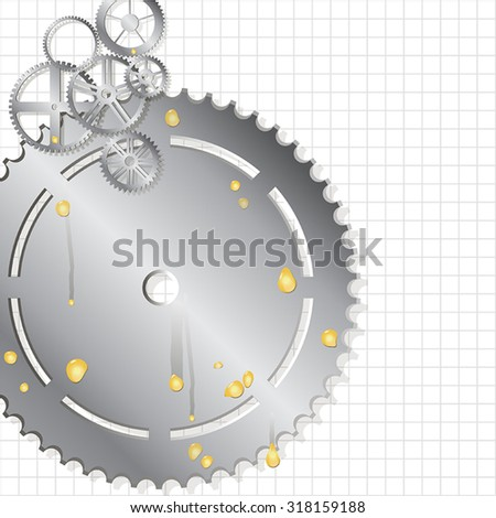 Gathering mechanism vector collection vehicle gear and pinion of metal with oil drops on a plaid background - stock vector