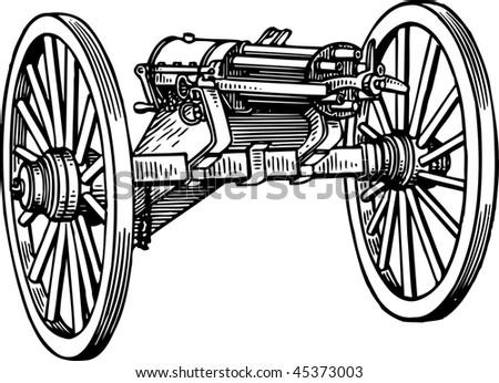 Gatling gun - stock vector
