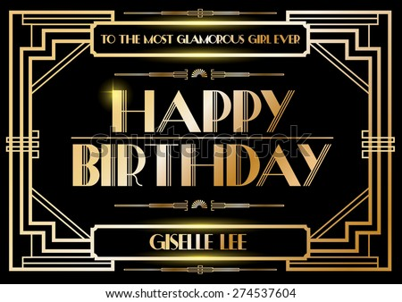 gatsby birthday greetings template vector/illustration - stock vector