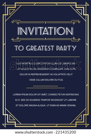Gatsby Style Invitation in Art Deco or Nouveau Epoch 1920's Gangster Era Boardwalk Empire Vector - stock vector