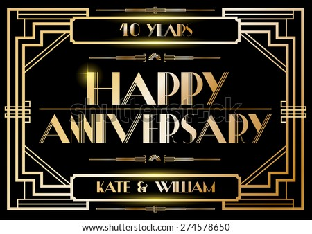 gatsby wedding anniversary card/poster template vector/illustration - stock vector