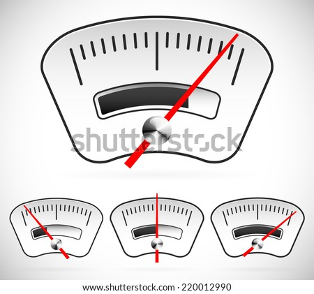 Gauge, dial, measure, benchmark, level, pressure, indicaton or indicator - stock vector