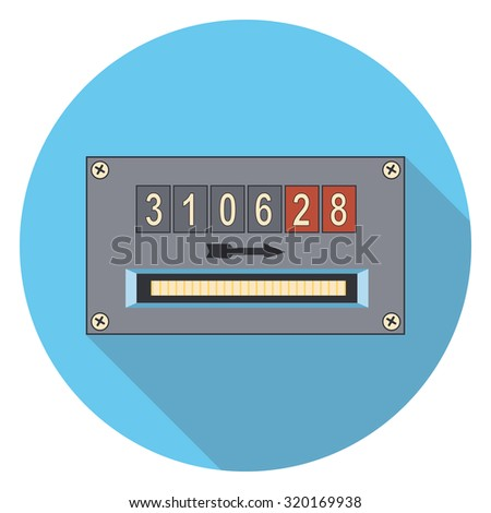 gauge flat icon with shadow - stock vector