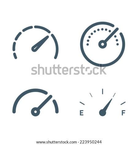 Gauge Meter Icon Symbol Set - stock vector