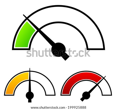 Gauge, meter templates. Pressure gauge, level concepts. - stock vector