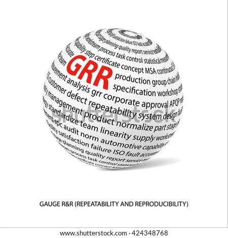 Gauge repeatability and reproducability word ball. White ball  with main title GRR and filled by other words related with GRR study. Industrial quality. Metrology department.Vector illustration