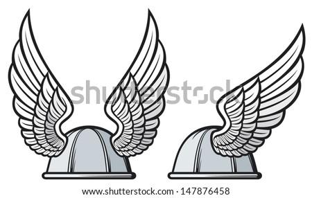 gaul helmet (gaelic helmet with wings, gaul warrior helmet, viking helmet) - stock vector