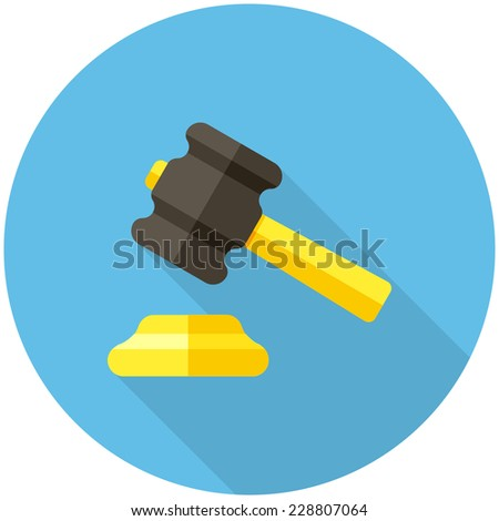 Gavel  icon (flat design with long shadows) - stock vector