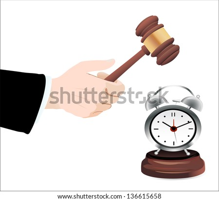 Gavel in hand and clock  isolated on white - stock vector