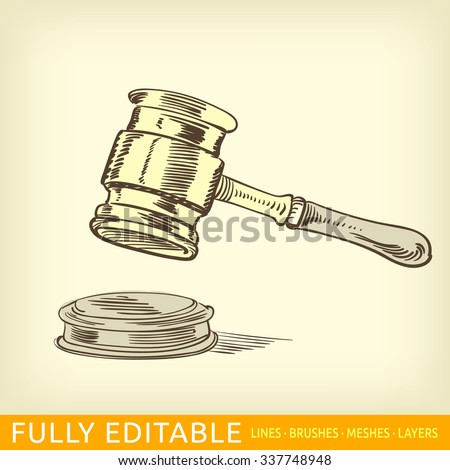 Gavel. Magistrate. - stock vector