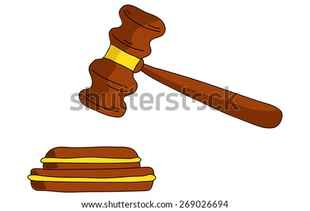 Gavel on a white background - stock vector