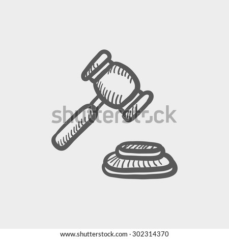 Gavel sketch icon for web and mobile. Hand drawn vector dark grey icon on light grey background. - stock vector
