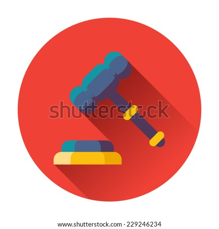 gavel with stand icon - stock vector