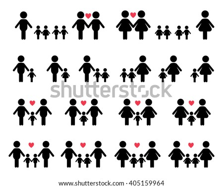 Gay and lesbian family vector icons, white on black  background