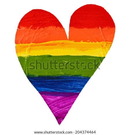 Gay and LGBT rainbow colors heart. Handmade. Textured, made with acrylic paint and canvas. Vector. - stock vector