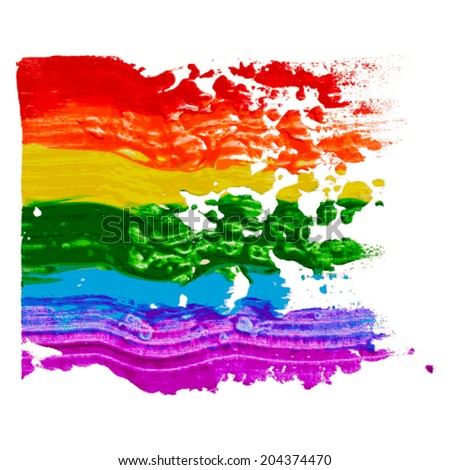 Gay and LGBT rainbow flag. Culture symbol. Handmade. Textured, made with acrylic paint and canvas. Grunge. Vector. - stock vector