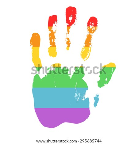 Gay and LGBT support symbol. Rainbow handprint isolated on white background. Real texture of hand imprint. Typography design element for posters, banners, icons and prints. - stock vector