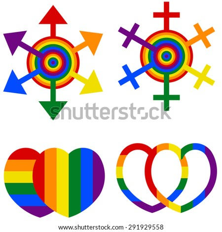 Gay couple, gay love icons set - stock vector
