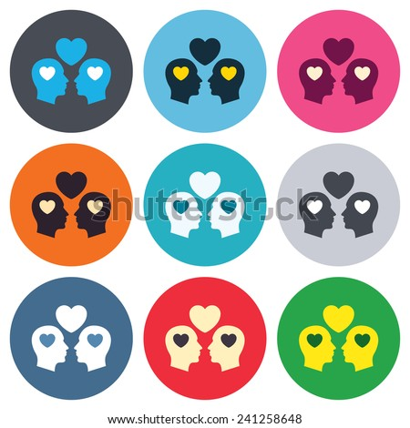 Gay couple sign icon. Male love male. Romantic homosexual relationships with heart. Colored round buttons. Flat design circle icons set. Vector - stock vector