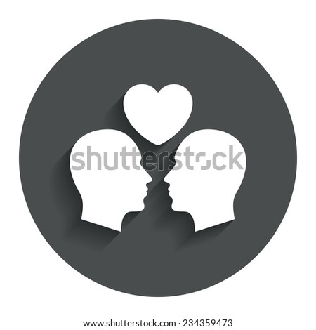 Gay couple sign icon. Male love male. Romantic homosexual relationships with heart. Gray flat button with shadow. Modern UI website navigation. Vector