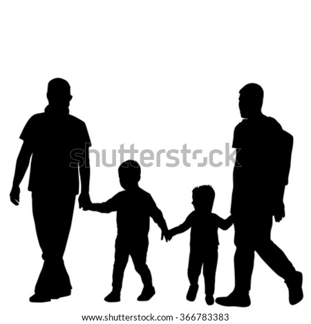 Gay family couple with children