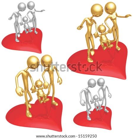 Gay Family Valentine - stock vector
