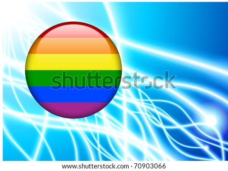 Gay Flag Button on Abstract Light Background Original Illustration - stock vector