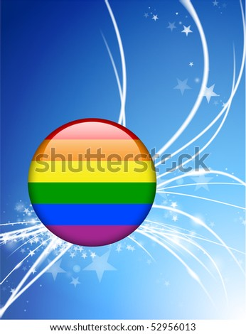 Gay Flag Button on Abstract Modern Light Background Original Illustration - stock vector