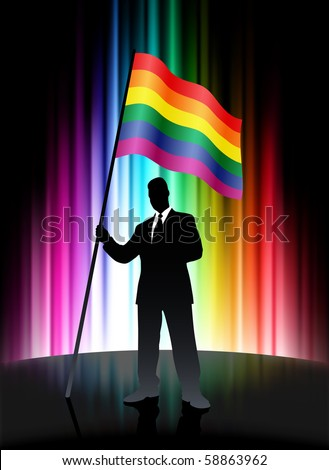 Gay Flag with Businessman on Abstract Spectrum Background Original Illustration - stock vector