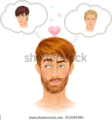Gay guy choosing boyfriend. Difficult romantic choice. Handsome brunette guy thinking. Vector illustration. - stock vector