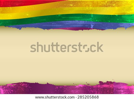 Gay horizontal scratched flag. Horizontal  background with a scratched gay flag  and a frame for your message - stock vector