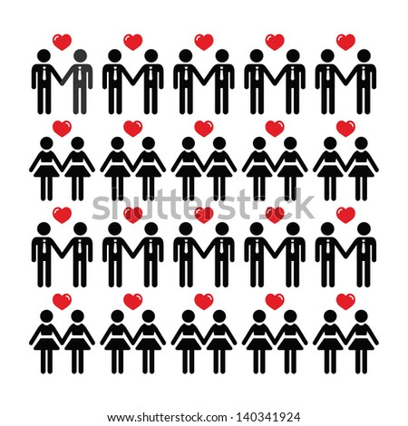 Gay lesbian couple icons vector card - stock vector