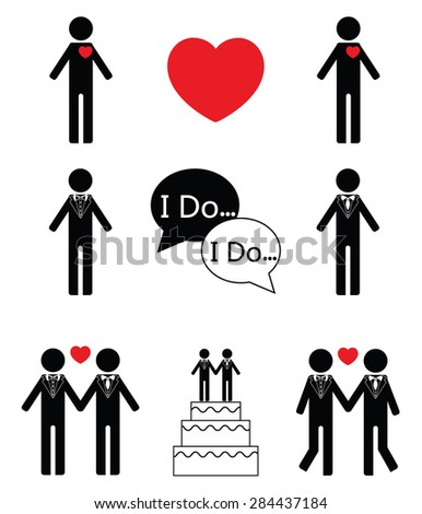 Gay man wedding icon set in black and white   - stock vector