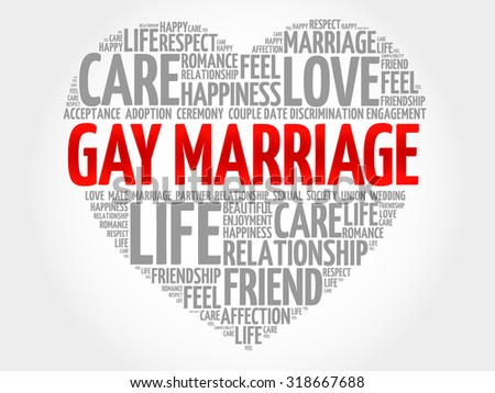 Gay marriage concept heart word cloud - stock vector