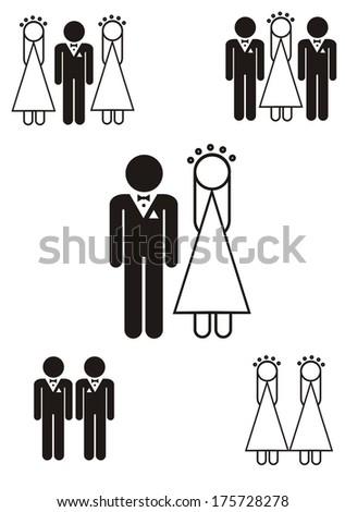 gay marriage icon - stock vector