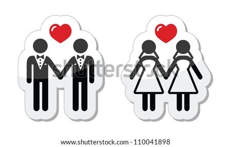 Gay marriage labels - stock vector