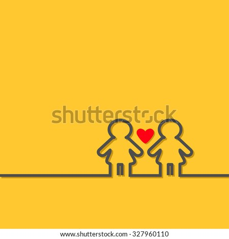 Gay marriage Pride symbol Two black contour women sign with red heart LGBT icon Yellow background Flat design Vector illustration - stock vector
