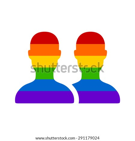 Gay marriage rainbow homosexual flat icon for apps and websites - stock vector