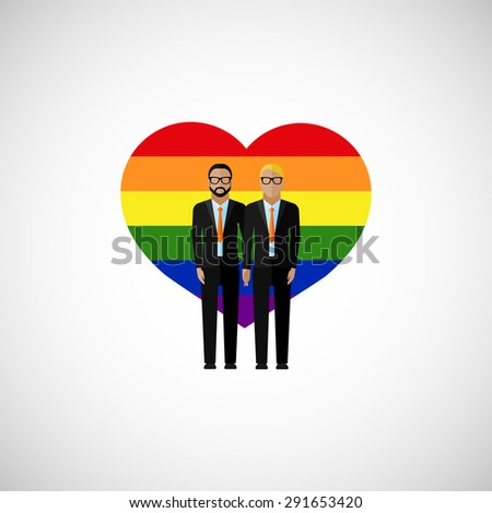gay marriage vector flat illustration. homosexual couple on the rainbow heart background. love wins - stock vector